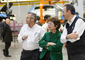 Deputy Secretary Blank is joined by Brian Barron, Department Manager for X3 Assembly and Josef Kerscher, the President of BMW Manufacturing, on the Spartanburg assembly floor