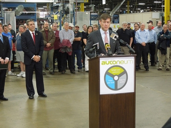 Deputy Assistant Secretary of Commerce Matt Erskine speaks at Autoneum plant in Bloomsburg, Pennsylvania.
