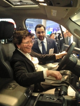 Deputy Secretary Blank Inspects a Display Model at the Washington, D.C. Auto Show