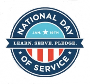 National Day of Service logo (Learn. Serve. Pledge.)