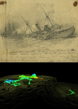 "Top: The USS Hatteras as depicted in a drawing by Civil War artist Francis H. Schell that he titled, ""The Destruction of the USA gunboat Hatteras."" Below:  This three-dimensional sonar scan shows remains of the USS Hatteras protruding above the seabed as surveyed in late 2012."