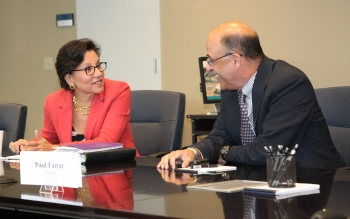 Secretary Pritzker with Paul Farrar, General Manager of Global 450mm Consortium (G450C); CNSE Vice President for Manufacturing Innovation; Chief Executive Officer of the U.S. Photovoltaic Manufacturing Consortium (PVMC)