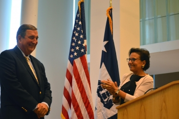 Secretary Penny Pritzker thanking Acting Director of the U.S. Census Bureau Tom Mesenbourg for his 41 years of service