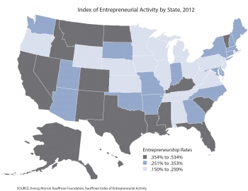 Map of U.S. showing entrepreneurship rates