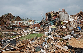 Destruction caused by the Joplin, Missouri, tornado that struck on May 22, 2011 causing 161 fatalities and more than 1,000 injuries. The tornado was the deadliest single tornado since official U.S. recordkeeping began in 1950.