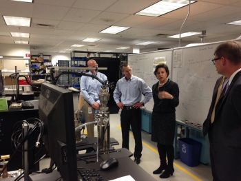 Pritzker touring plant with Lakeshore Cryotronics officials