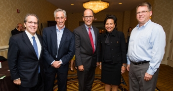 Secretary of Commerce Penny Pritzker, Secretary of Labor Tom Perez and National Economic Council Director Gene Sperling with members of the Business Leaders United for Workforce Partnerships
