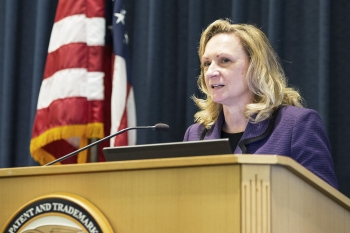 Deputy Director Teresa Stanek Rea of the United States Patent and Trademark Office provides opening remarks at a public forum marking the 2nd anniversary of the America Invents Act, the biggest overhaul of the nation's patent laws since the 19th century.