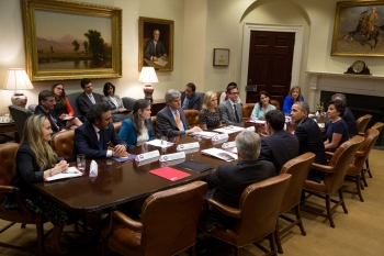 Secretary Pritzker and the Presidential Ambassadors for Global Entrepreneurship meet with President Obama in the White House's Roosevelt Room.