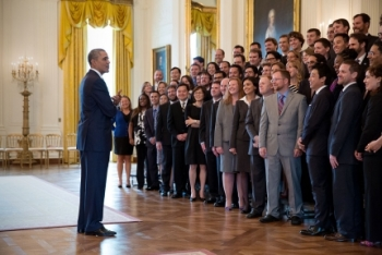 President Barack Obama talks with the Presidential Early Career Award for Scientists and Engineers (PECASE) recipients in the East Room of the White House, April 14, 2014. (Official White House Photo by Pete Souza) (Official White House Photo)