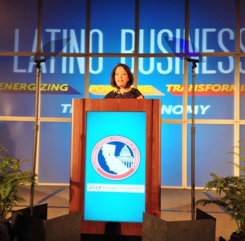 MBDA National Director Alejandra Castillo addressing the California Hispanic Chamber of Commerce