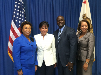 Representative Barbara Lee, Secretary Penny Pritzker, Clifton Burch, President at Empire Engineering & Construction, Inc. and MBDA National Director Alejandra Castillo