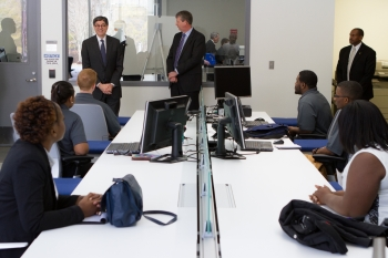 Secretary Lew speaks to Virginia State University interns and research faculty during his visit to the Commonwealth Center for Advanced Manufacturing in Prince George County, Virginia