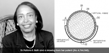 Dr. Patricia E. Bath and a drawing of her patent