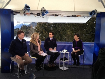 Secretary Pritzker on the CNBC Squawk Box set at the World Economic Forum