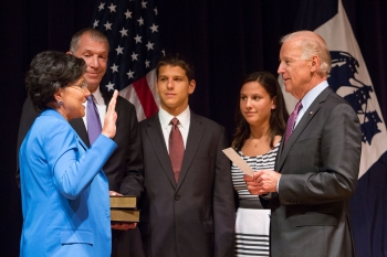 Vice President Joe Biden Swearing In Penny Prtizker as the 38th U.S. Secretary of Commerce