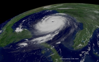 NOAA GOES East image of Hurricane Katrina, August 2005