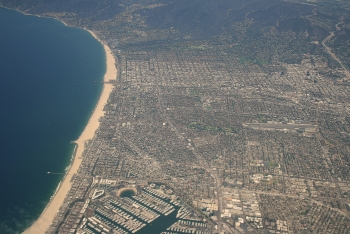 A view of the Pacific coastline along Santa Monica, California