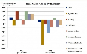 Real value added —a measure of an industry's contribution to GDP—for agriculture, forestry, fishing, and hunting declined 31 percent in the first quarter, reflecting a drop in the production of farm-type products, including livestock and dairy.