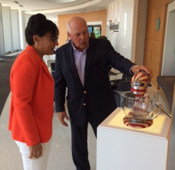Secretary Pritzker receives a tour of the Whirlpool Corporate Headquarters by Chief Executive Officer Jeff Fettig