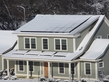 Net-Zero Energy Residential Test Facility (NZERTF) in the snow