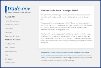 ITA's Trade Developer Portal.