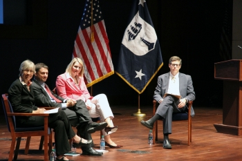 Under Secretary Doms (far right), leads a panel discussion with Chief Economist Sue Helper (from left to right), Hal Sirkin, Managing Director, Boston Consulting Group, and Katy George, Director, McKinsey & Co.