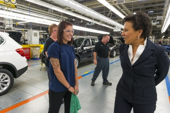 Secretary Pritzker Speaks with Workers While Touring the BMW Facilities in Spartanburg, South Carolina