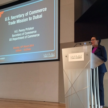 Secretary Pritzker speaks to the Dubai Chamber of Commerce