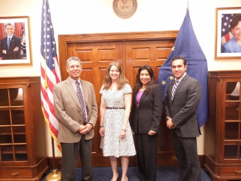 AVCP Vice President Michael Hoffman (far left) and General Counsel Carol Brown (second from right) pose with EDA Director of External Affairs Angela Belden Martinez and Aaron Trujillo, the Commerce Department's Acting Senior Advisor on Native American Affairs following the announcement of an EDA investment to support workforce development in rural Alaska.