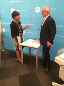 Secretary Pritzker joins Jay Ireland, GE Africa President and CEO, after a roundtable discussion with representatives from General Electric (GE) Healthcare and the Government of Nigeria