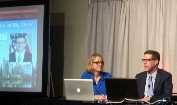 Jennifer van der Meer and Under Secretary Mark Doms at NYC STRATA + Hadoop World Conference