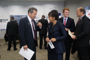 Secretary Pritzker enjoying NNMI Day with Senator Sherrod Brown and Congressmen Joe Kennedy and Tom Reed