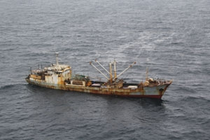 Worldwide economic losses from IUU fishing from ships such as this are estimated to be between $10 billion and $23 billion annually. (Credit: U.S. Coast Guard)