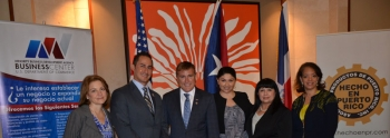 Isabella Cascarano, U.S. Embassy of Dominican Republic,  Jose Burgos USEAC, of Puerto Rico, James W. Brewster, Jr., U.S. Ambassador to the Dominican Republic, Gabriela Morales, MBDA Business Development Specialist, Teresa Berrios, Puerto Rico MBDA Business Center's Director, and Alejandra Y. Castillo, MBDA's National Director, ready to meet local entrepreneurs during the Puerto Rico MBDA Business Center's MED Week Conference in San Juan's Condado Plaza Hotel, Jan. 30.