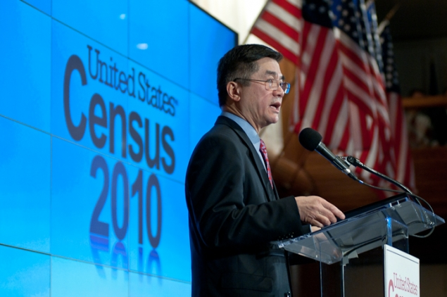 Secretary Locke Addresses the Audience at the Census 2010 Data Release Press Conference