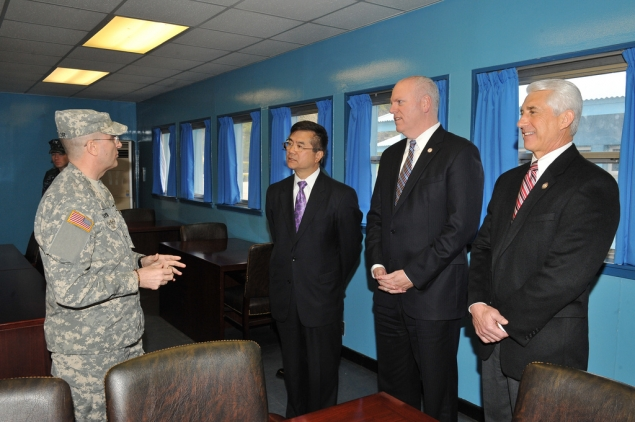 Secretary Locke, Congressman Crowley and Congressman Reichert being briefed at the DMZ