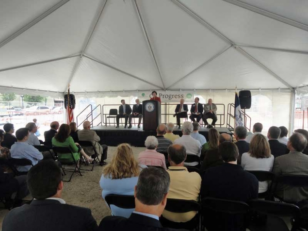 Acting Secretary Blank delivers remarks at groundbreaking ceremony under a tent