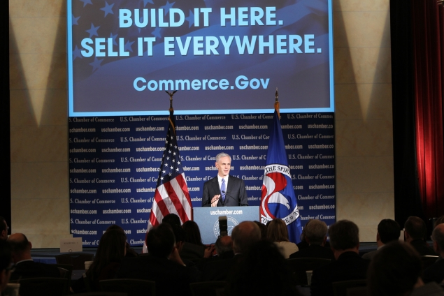 Bryson on podium, explains Commerce priorities (photo: U.S. Chamber of Commerce)
