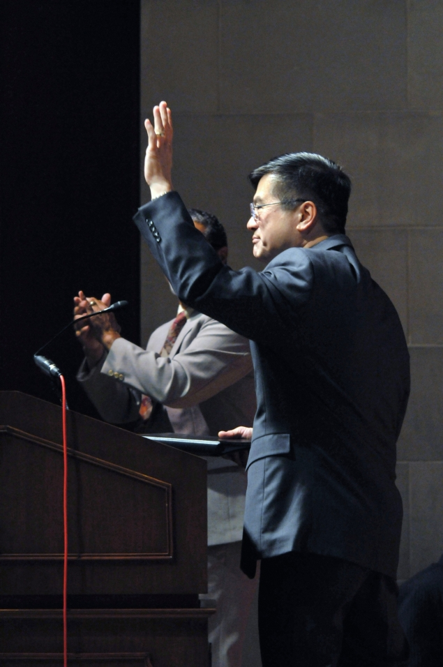 On June 22, 2011, Secretary Gary Locke addressed Commerce employees in the HCHB auditorium. He thanked them for their hard work and dedication to improving America's innovation at home and competitiveness abroad.