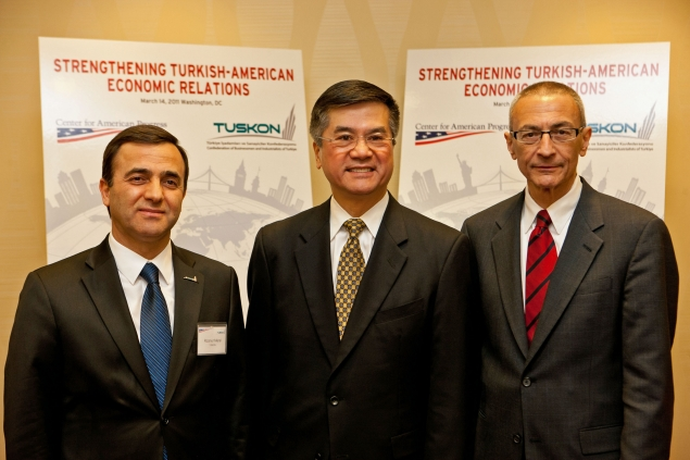 Secretary Locke along with TUSKON President Rizanur Meral and John Podesta, President and CEO of the Center for American Progress