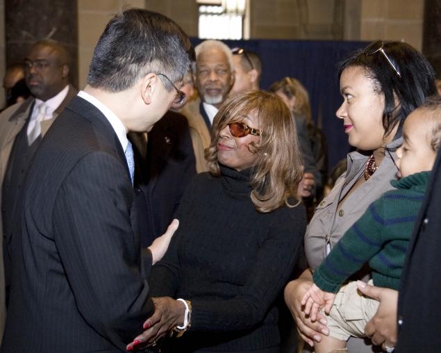Secretary Locke Greets Secretary Ron Brown's widow, Alma