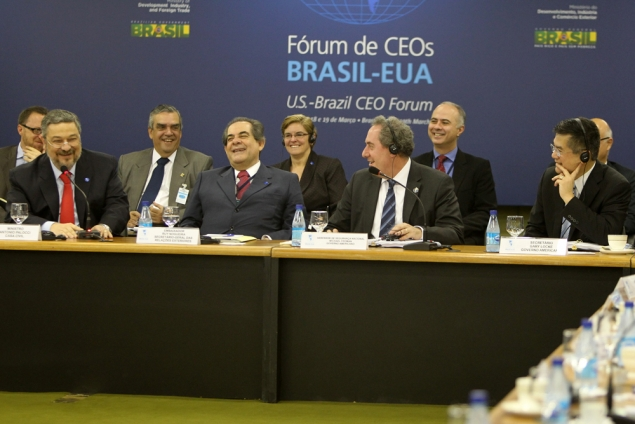 Secretary Locke Shares a Laugh with Other Members of the U.S.-Brazil CEO Forum