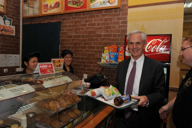 Secretary Bryson orders lunch from one of the 243 Subway franchises within China