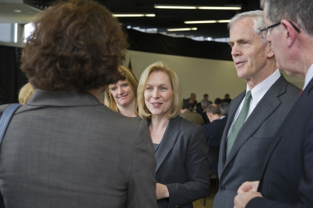 Senator Gillibrand and Secretary Bryson speak with participants in the upstate New York manufacturing summit