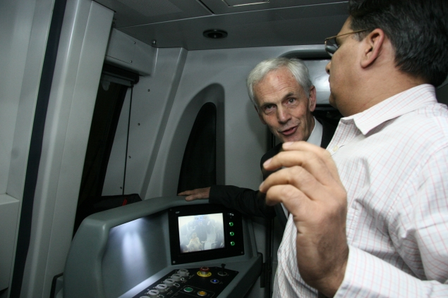 "Secretary Bryson ""drives"" the Delhi Metro"