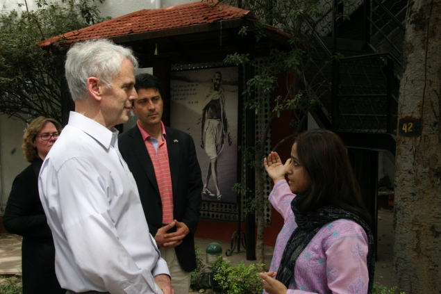 Secretary Bryson at the Gandhi Smriti