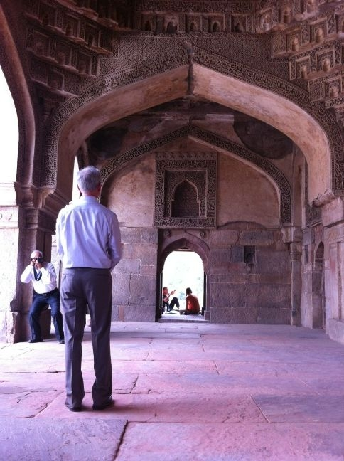 Secretary Bryson touring the mosque at Lodi Gardens. Striking architecture mixing different eras and styles