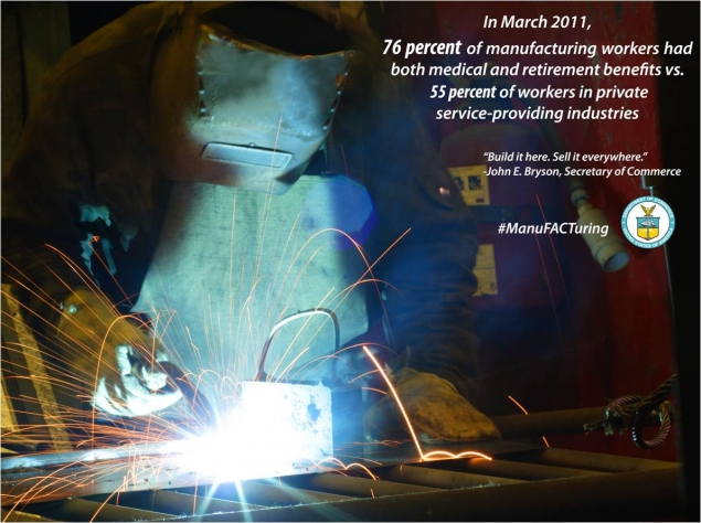 76% of manufacturing workers had medical and retirement benefits