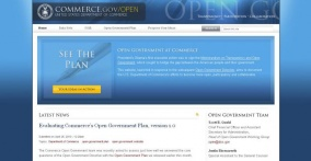 Screenshot of Commerce's Open Government Website